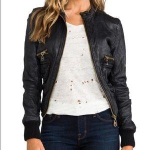 Doma Black Leather Bomber Jacket